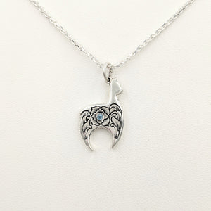 Hand Engraved Huacaya Alpaca Crescent Pendant - with blue topaz gemstone - Sterling Silver