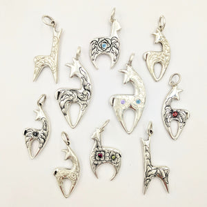 A Variety of Hand Engraved Huacaya and Suri Alpaca Crescent Pendants with and without Faceted Gemstones  - Sterling Silver
