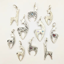 Load image into Gallery viewer, Various Hand Engraved Crescent Pendants with and without gemstones - Sterling Silver