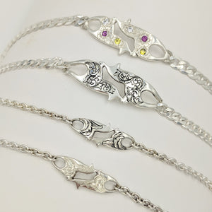 Various Hand Engraved ID Bracelets with or without Faceted Gemstones - Sterling Silver