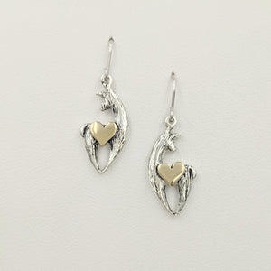 Alpaca or Llama Spirit Crescent Earrings - Sterling Silver with 14K Yellow Gold Heart Accents