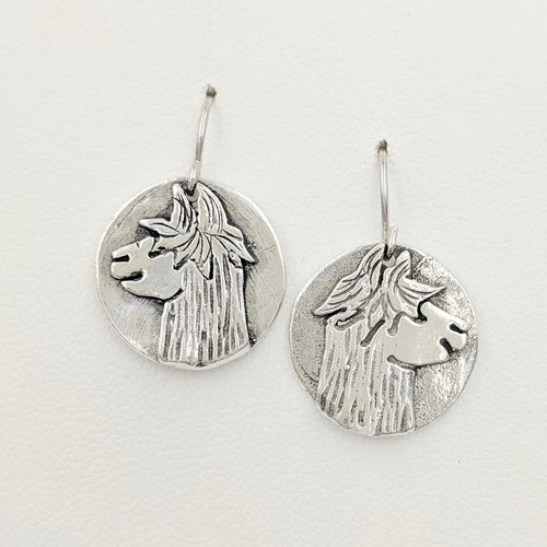 Alpaca Suri Relic Coin Earrings - On French Wires, Sterling Silver