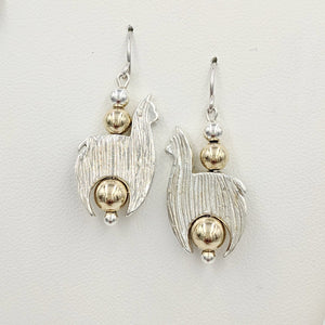 Alpaca Huacaya Crescent Earrings With Gold-filled Beads & Fiber Finish; hanging on French wires.