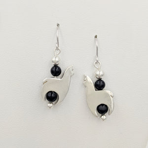 Alpaca Huacaya Crescent Earrings With Onyx Beads & Satin Finish; hanging on French wires.
