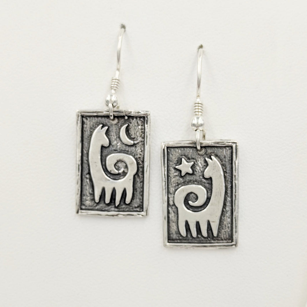 Alpaca or Llama Reflection Petroglyph Square Earrings - Sterling Silver on french wires