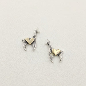 Llama Crescent Earrings with Hearts - Sterling Silver Llama with 14K Yellow Gold Heart Accents on Posts