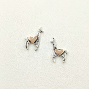 Llama Crescent Earrings with Hearts - Sterling Silver Llama with 14K Rose Gold Heart Accents on Posts