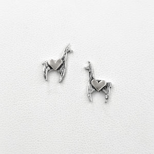 Llama Crescent Earrings with Hearts - Sterling Silver Llama with Heart Accents on Posts