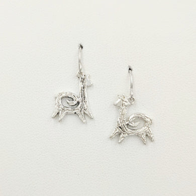 Alpaca or Llama Petite Leaping Earrings with spirals  Sterling Silver on French wires