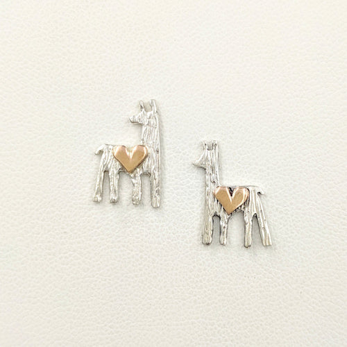 Alpaca or Llama Petite Silhouette Earrings Sterling Silver Animal with 14K Rose Gold Heart Accent  on posts