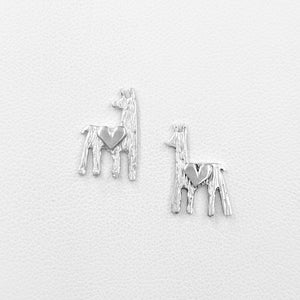 Alpaca or Llama Petite Silhouette Earrings Sterling Silver with heart accent  on posts