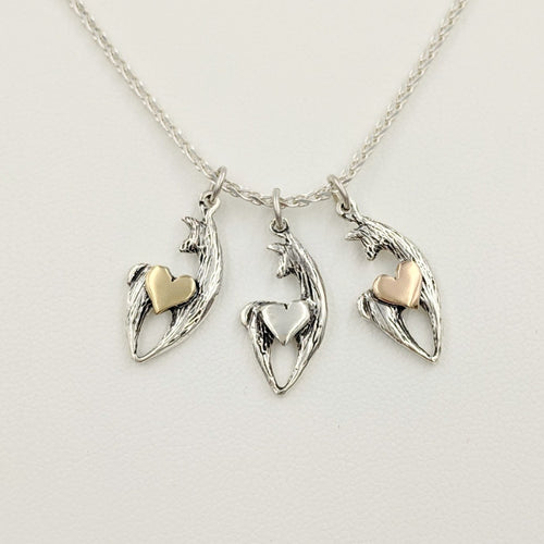 3 different Alpaca or Llama Spirit Crescent Pendants with Heart Accent - Sterling Silver Animals with 14K Yellow Gold, Sterling Silver and 14K Rose Gold heart accents