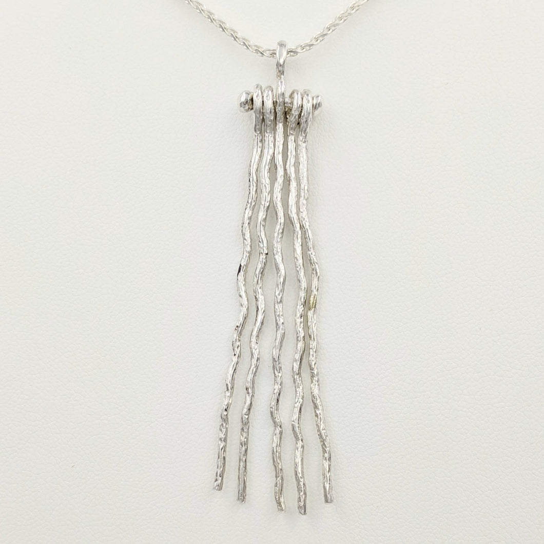Alpaca or Llama 5 Strand Fiber Pendant - Fiber strands are Free Flowing; Sterling Silver