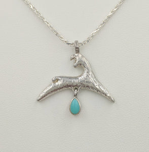 Alpaca or Llama Leaping Crescent Pendant with teardrop Turquoise Gemstone Dangle  fiber finish