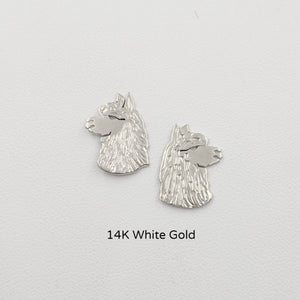 Alpaca Huacaya Head  Silhouette Earrings - 14K White Gold on Posts
