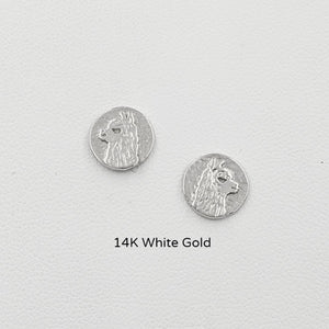 Alpaca Huacaya Head Super Petite Coin Earrings - On Posts; 14K White Gold