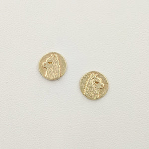 Alpaca Huacaya Head Super Petite Coin Earrings - On Posts; 14K Yellow Gold