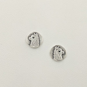 Alpaca Huacaya Head Super Petite Coin Earrings - On Posts; Sterling Silver