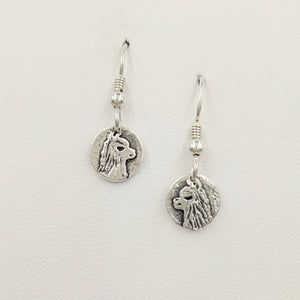Alpaca Huacaya Head Super Petite Coin Earrings - On French Wires; Sterling Silver