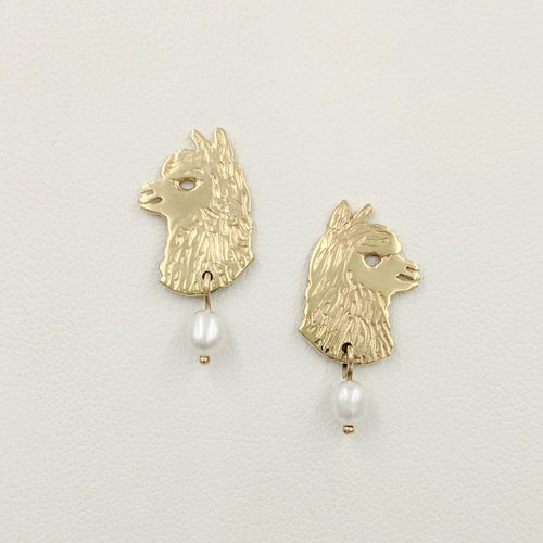 Alpaca Huacaya Head  Silhouette Earrings With Pearl Dangle - 14K Yellow Gold