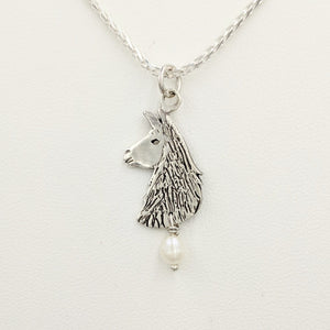 Llama Head Pendant with Freshwater Pearl Dangle  Sterling Silver