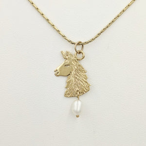Llama Head Pendant with Freshwater Pearl Dangle  14K Yellow Gold