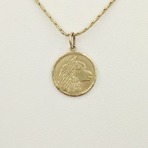 Alpaca Huacaya Head Coin Pendant - 14K Yellow Gold