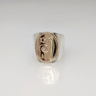 Alpaca or Llama Reflection Petroglyph Motif Ring Sterling Silver band with 14K Yellow Gold coin with star icon accent - smooth rim