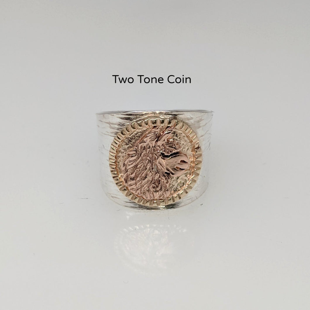 Alpaca Huacaya head coin ring Hand-hammered sterling silver tapered band.14K yellow and 14K rose gold coin.e