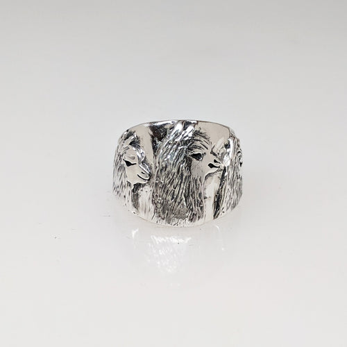 Alpaca Huacaya Tri-Head Silhouette Cigar Band Style Ring  - Sterling Silver