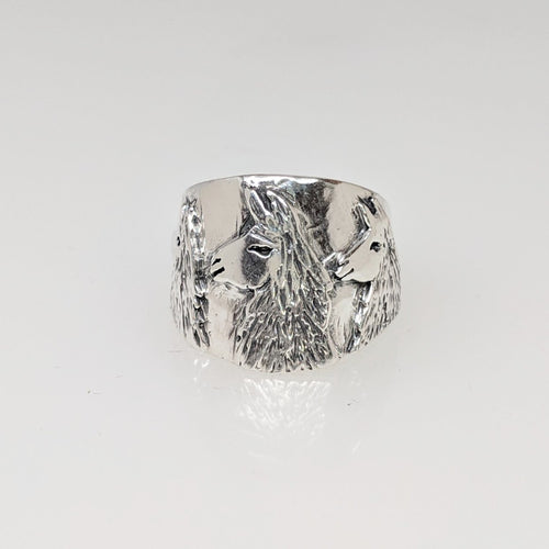 Llama Silhouette Cigar Band Style Ring - With 3 Heads, Sterling Silver