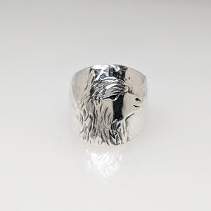 Alpaca Huacaya Single Head Silhouette Cigar Band Style Ring  - Sterling Silver