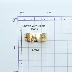 Sizing grid shown with llama icons