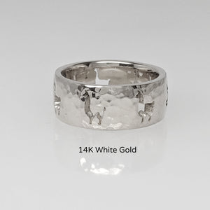 Llama Silhouette Icon Punch Ring - 14K White gold, hammered finish