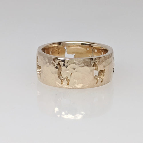 Llama Silhouette Icon Punch Ring - 14K Gold, Hammered Finish