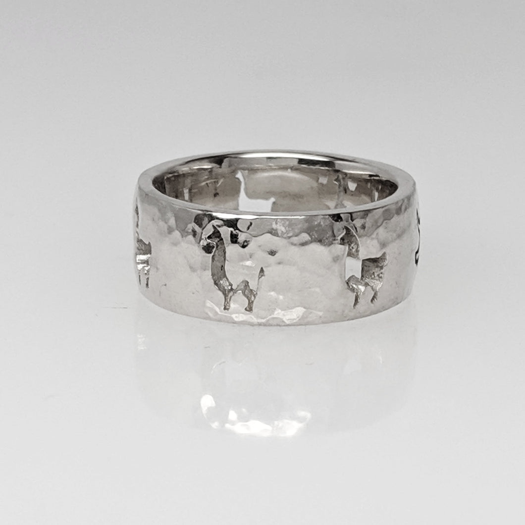 Llama Silhouette Icon Punch Ring - Sterling Silver, Hammered Finish