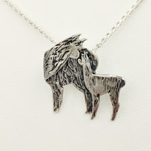 Load image into Gallery viewer, Alpaca Huacaya Kiss Pendant -Mother turning back to kiss her baby cria; Sterling Silver with Hidden Bail