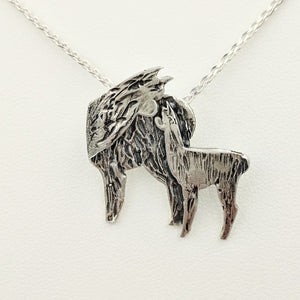 Alpaca Huacaya Kiss Pendant -Mother turning back to kiss her baby cria; Sterling Silver with Hidden Bail