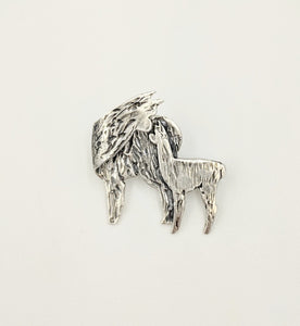 Alpaca Huacaya Kiss Pin - Mother turning back to kiss her baby cria.  Sterling Silver; hidden bail
