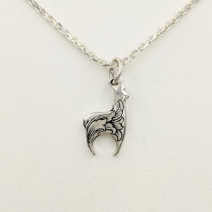 Hand Engraved Huacaya Alpaca Crescent Pendant - Sterling Silver
