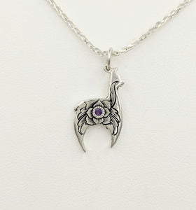 Hand Engraved Huacaya Alpaca Crescent Pendant with amethyst gemstone - Sterling Silver