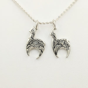Hand Engraved Huacaya Alpaca Crescent Pendants - Sterling Silver