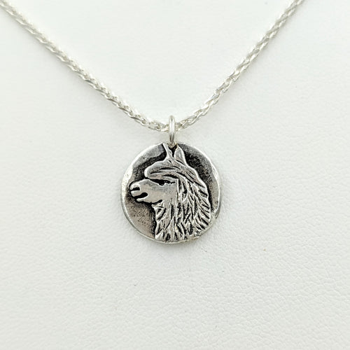 Alpaca Huacaya Relic Style Coin Pendant - Sterling Silver