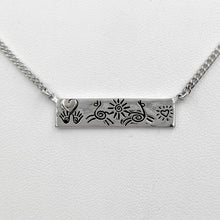 Load image into Gallery viewer, Alpaca or Llama Icon Bar Necklaces with Heart - Sterling Silver