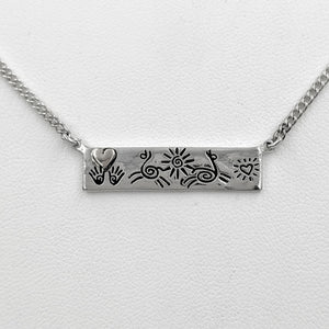 Alpaca or Llama Icon Bar Necklaces with Heart - Sterling Silver