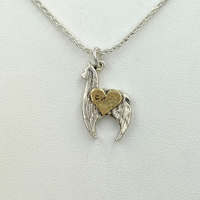 Alpaca Huacaya Crescent Pendant with 14K Yellow Gold Heart