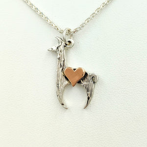 Llama Crescent with Heart Pendant Sterling Silver Llama with 14K Rose Gold Heart
