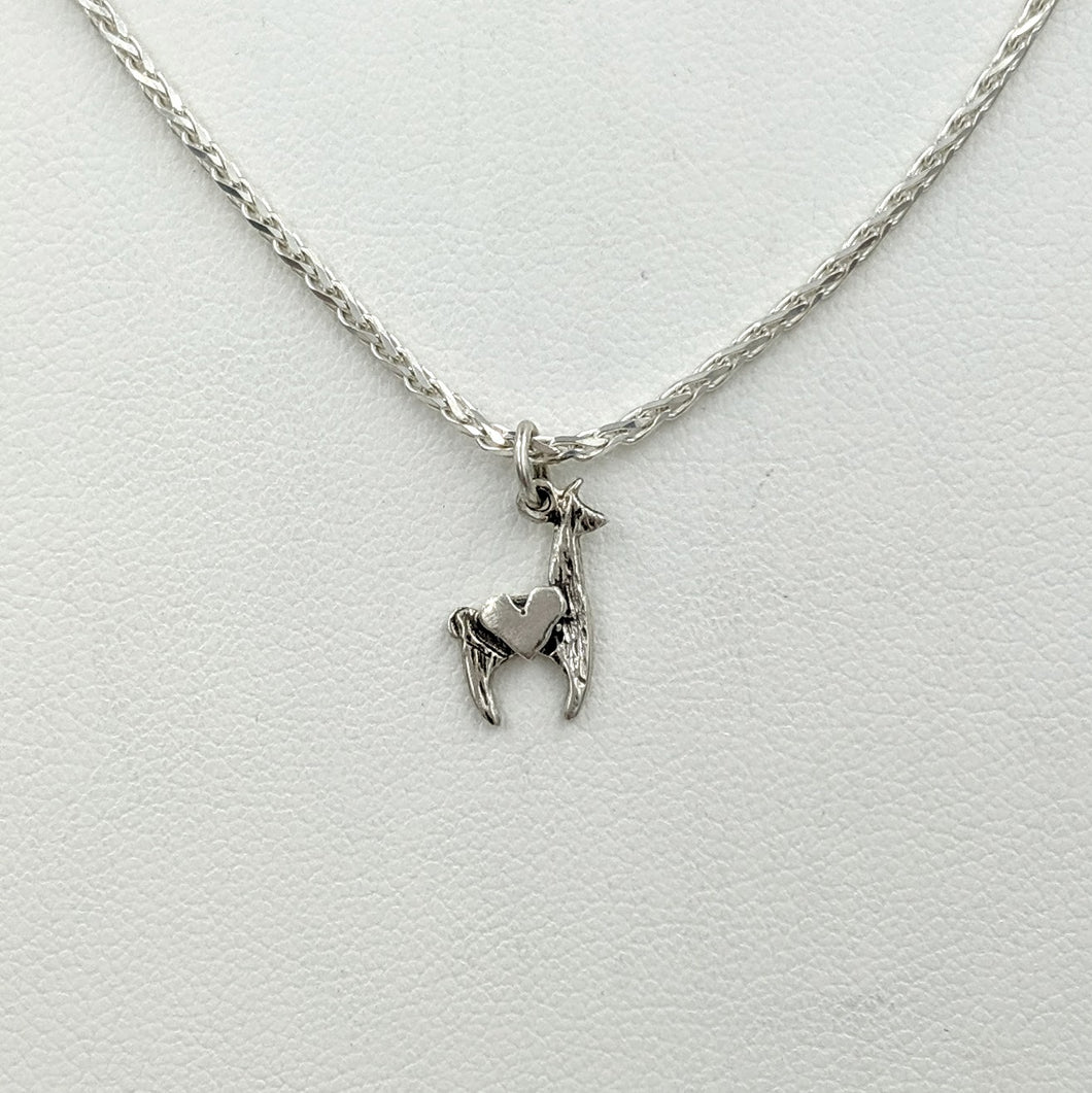 Llama Crescent with Heart Pendant - Sterling Silver