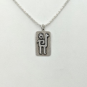 Alpaca or Llama Quechua Petroglyph Pendant - Sterling Silver  smooth and shiny finish