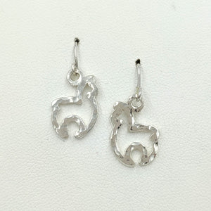 Alpaca Huacaya Open Silhouette Earrings - Sterling Silver on French wires